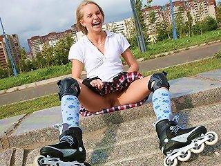 Schoolgirl Bares Booty In Street